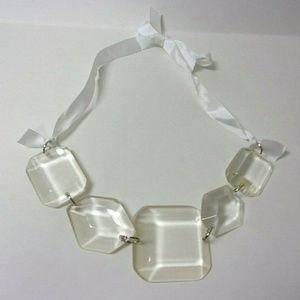 Lucite Chunky Necklace Clear Faceted Ribbon Tie